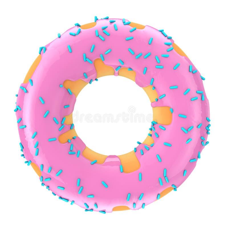 Großes Erdbeerrosa-glasig-glänzender Donut mit Blau besprüht renderi 3D lizenzfreie abbildung