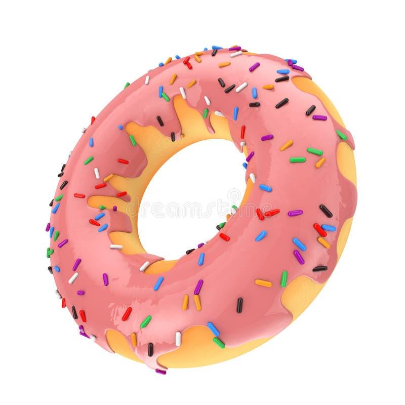 Großes Erdbeerrosa-glasig-glänzender Donut mit Farbe besprüht 3d übertragen lizenzfreie abbildung