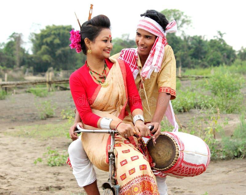 Großes Festival der Assameseleute von Nordost-Rongali Bihu stockfotos