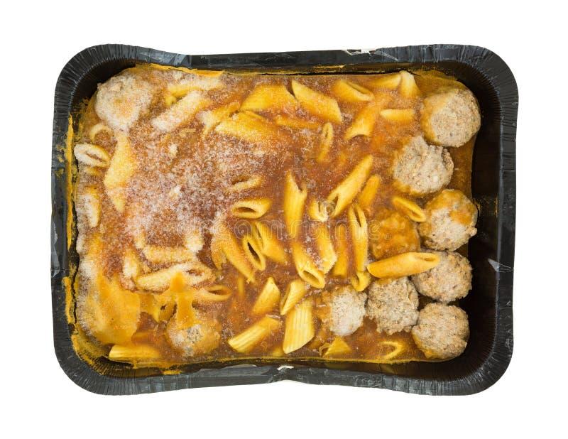Großes gefrorenes Teigwaren und Fleischklöschen Fertiggericht lizenzfreies stockbild