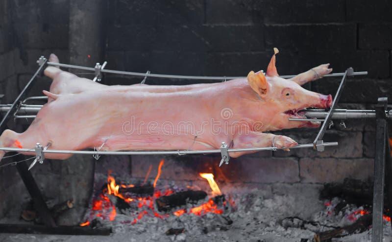 Großes gevierteltes Schwein gekocht lizenzfreie stockfotografie