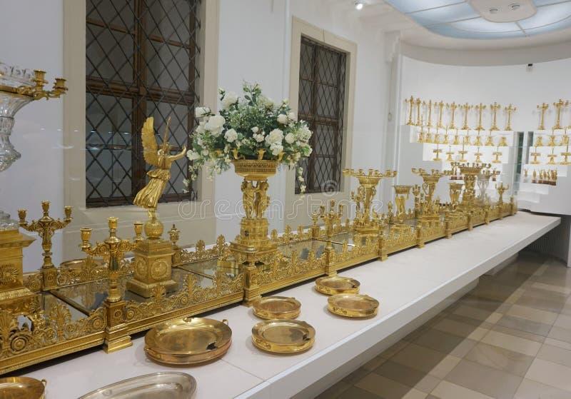 Großes goldenes fruitmenation der Habsburger-Familie in der kaiserlichen silbernen Sammlung beim Hofburg lizenzfreies stockbild