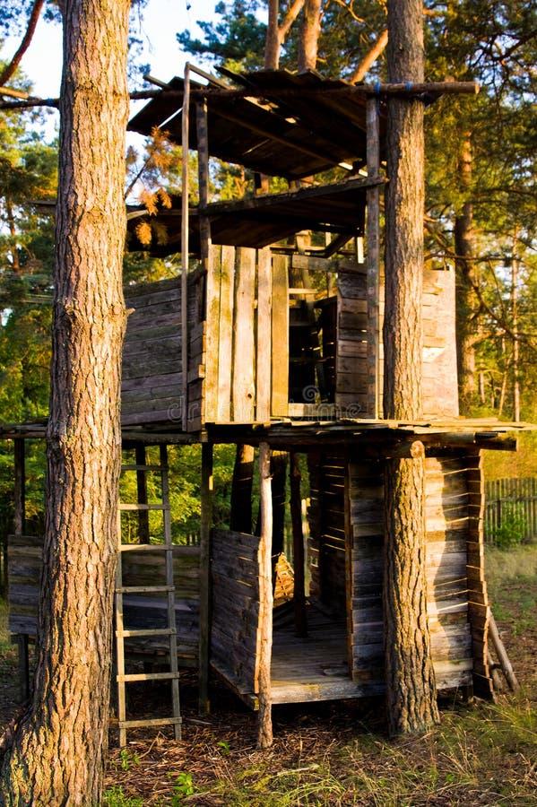 Großes hölzernes Baumhaus mit kletterndem Weg lizenzfreies stockbild