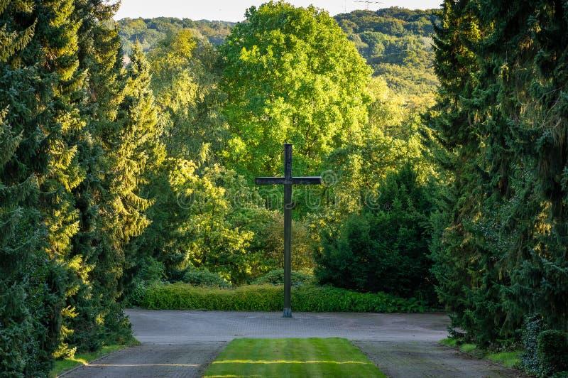 Großes, hölzernes Kreuz auf dem Hauptweg eines Kirchhofs, gestaltet durch Bäume lizenzfreies stockfoto