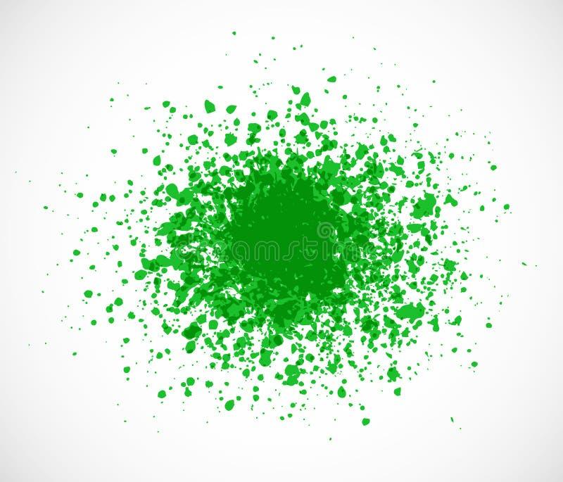 Großes hellgrünes Schmutzspritzen auf weißem Hintergrund stock abbildung