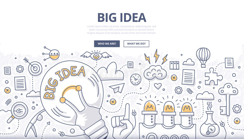 Großes Ideen-Gekritzel-Konzept stock abbildung