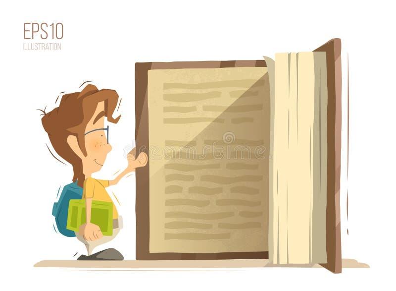 Großes Kind scherzt Buch lizenzfreie abbildung