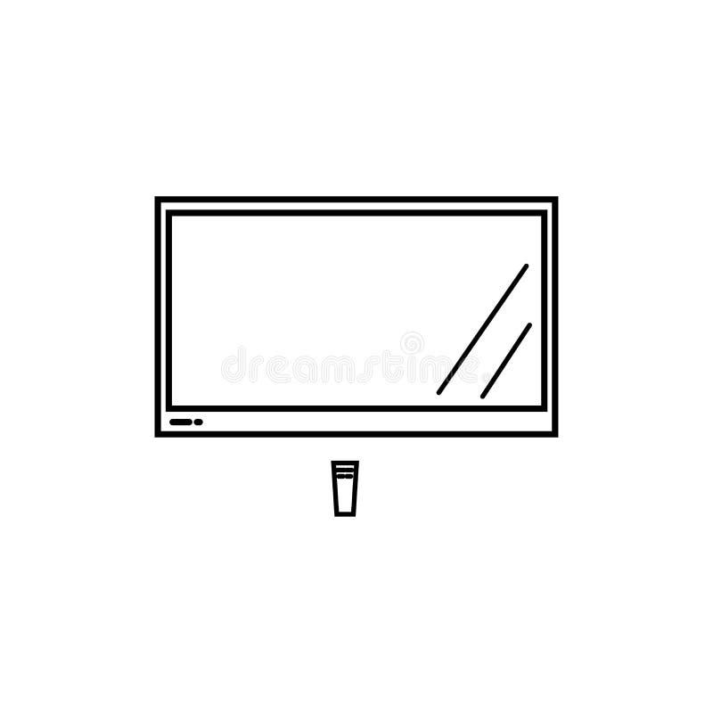 großes lcd-Fernsehen mit Fernsteuerungsikone lizenzfreie abbildung