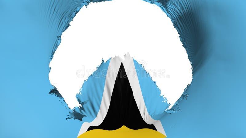 Großes Loch in der St. Lucia-Flagge vektor abbildung