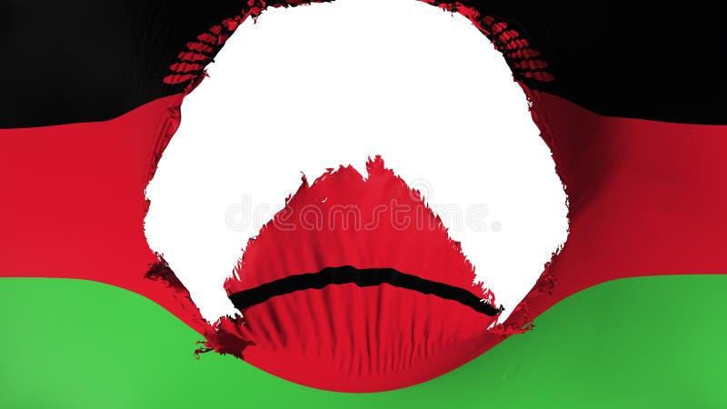 Großes Loch in Malawi-Flagge lizenzfreie abbildung