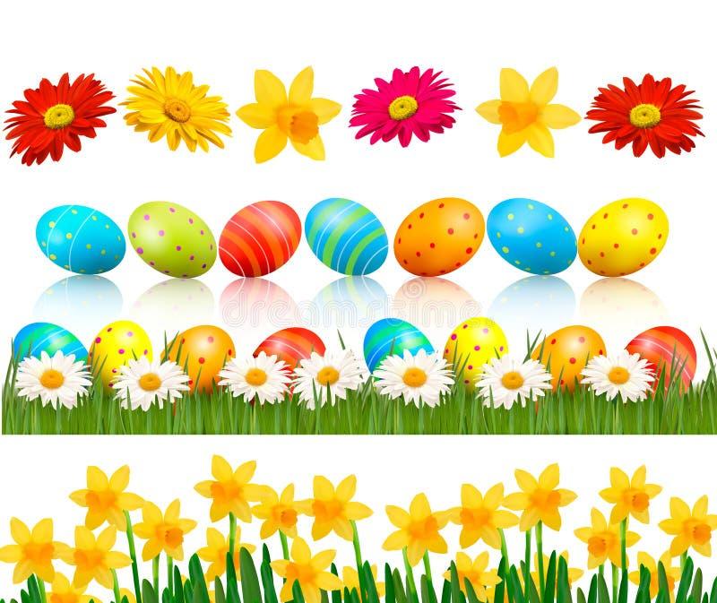 Großes Ostern stellte mit traditionellen Eiern und Blumen ein stock abbildung
