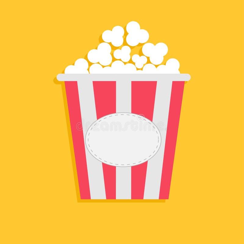 Großes Popcorn mit leerem Aufklebertag Kinoikone in flacher dsign Art vektor abbildung