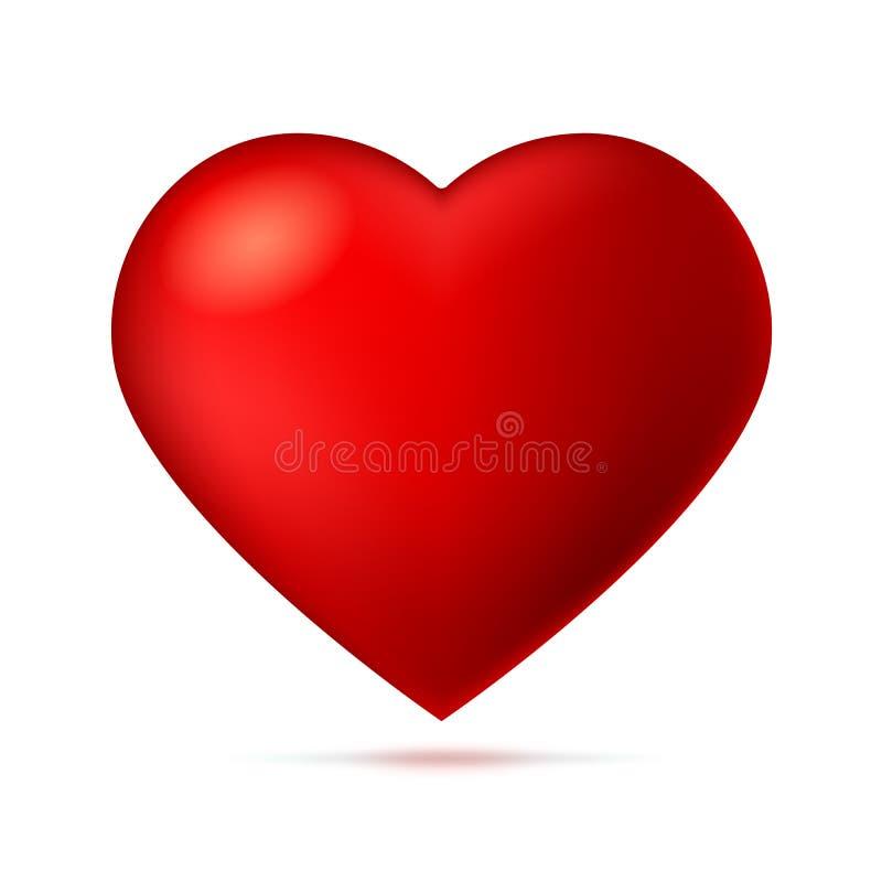 Großes Rot, ein Scharlachrot Herz auf weißem Hintergrund mit Schatten lizenzfreie abbildung