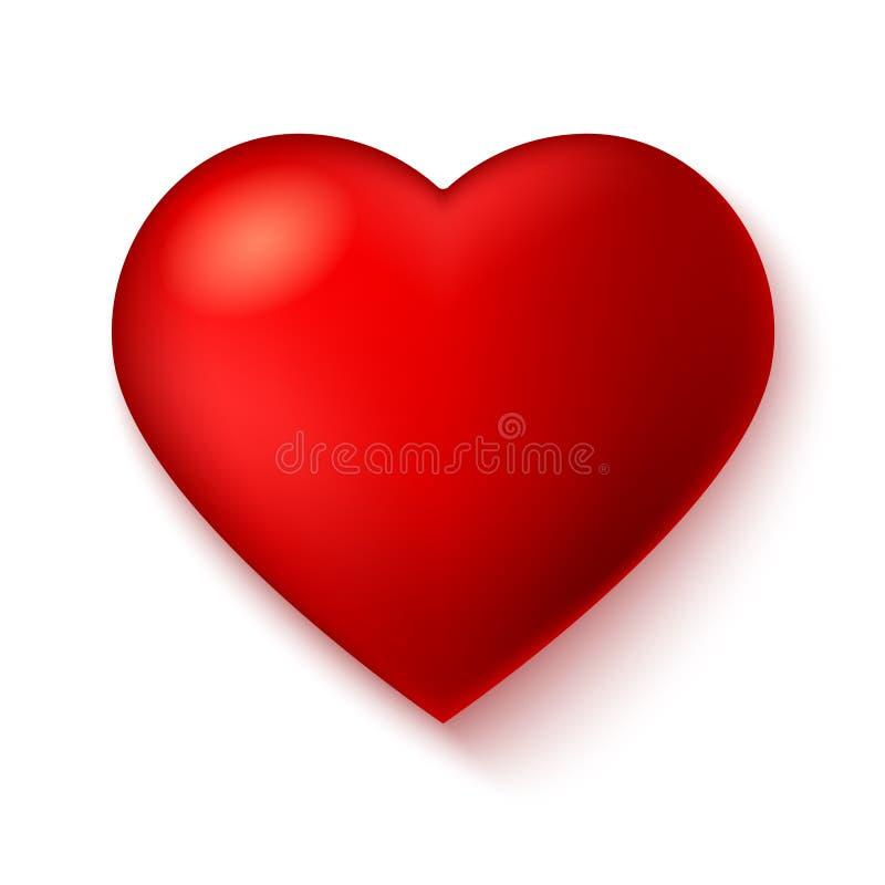 Großes Rot, ein Scharlachrot Herz auf weißem Hintergrund mit Schatten vektor abbildung
