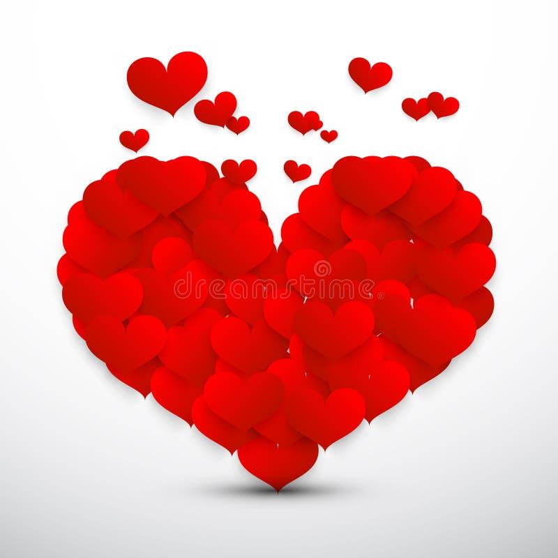 Großes rotes Herz gemacht von den kleinen Fliegen-Vektor-Herzen stock abbildung