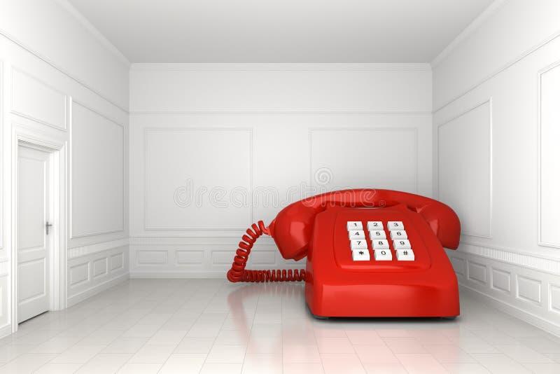 Großes rotes Telefon im weißen leeren Raum lizenzfreie abbildung