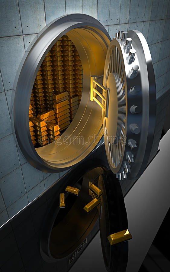 Großes Safe mit Goldbarren 3D lizenzfreie abbildung