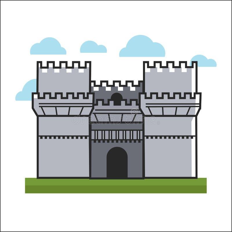 Großes Schloss auf Gras stock abbildung