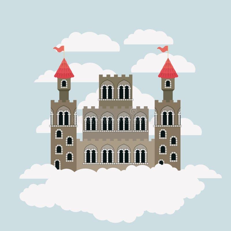 Großes Schloss von Märchen im Himmel umgeben durch Wolken im bunten Schattenbild vektor abbildung