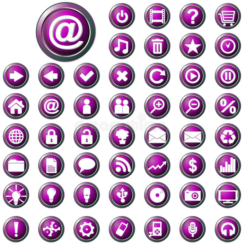 Großes Set glatte purpurrote Web-Tasten lizenzfreie abbildung