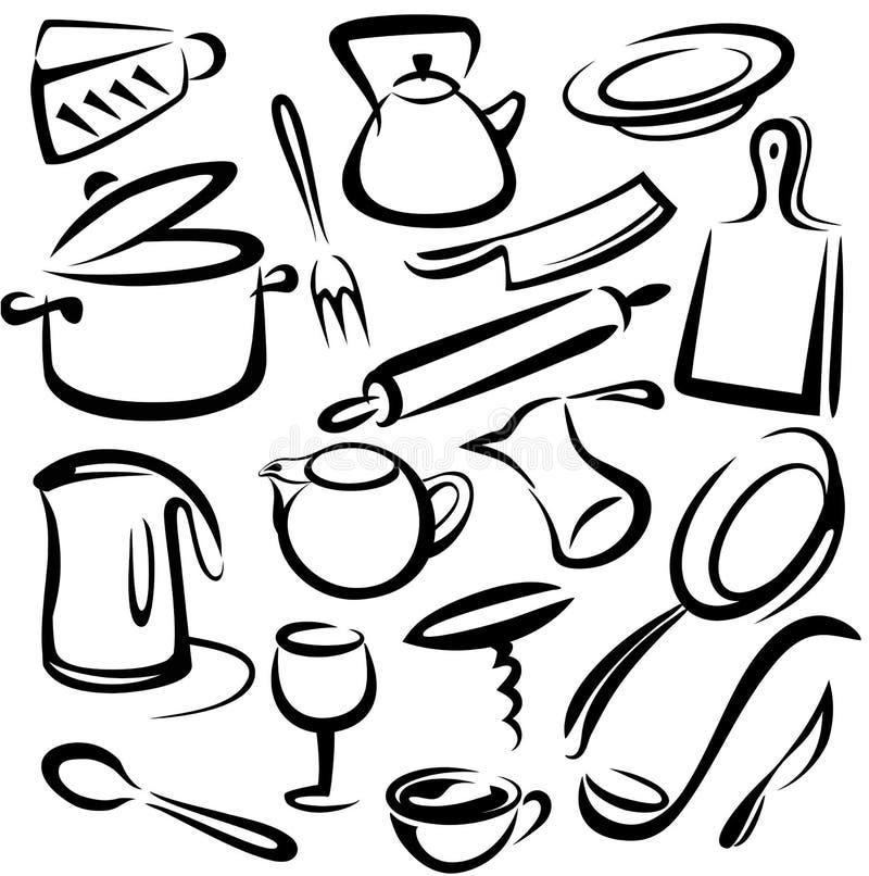 Großes Set Küchehilfsmittel, Skizze lizenzfreie abbildung