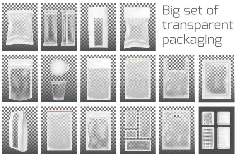 Großes Set Transparentes leeres Kunststoffgehäuse mit Reißverschluss Leeres Folienkissen für Nahrung oder Getränk stock abbildung