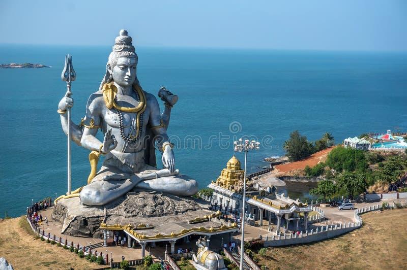 Großes Shiva Lord Shiva Statue in Murudeshwar, Karnataka, Indien Ausflug von Goa und von Gokarna stockfotos