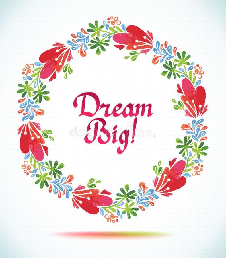 Großes TraumAquarellblumenkranzpapier-Schnittblume Grußkartenhintergrund lizenzfreie abbildung