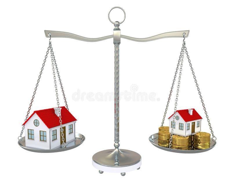 Großes und kleines Haus mit Goldmünzen auf der Skala vektor abbildung