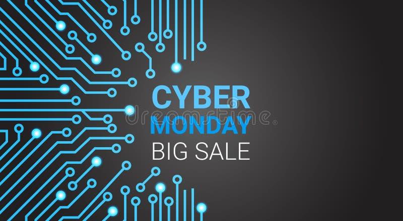 Großes Verkaufs-Plakat cyber-Montages über Stromkreis-Hintergrund mit Kopien-Raum vektor abbildung