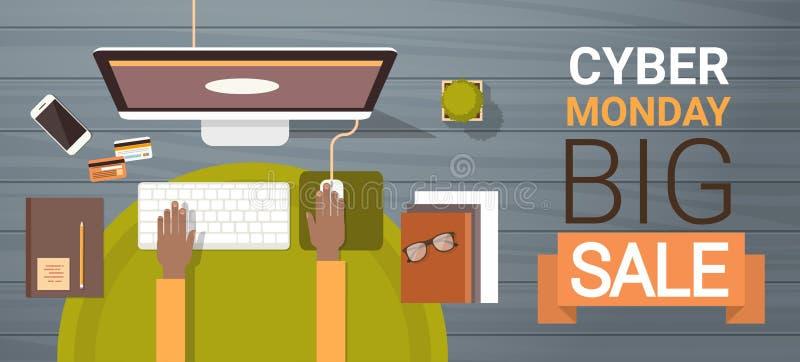 Großes Verkaufs-Plakat cyber-Montages mit den Händen, die auf Computer-Tastatur schreiben stock abbildung
