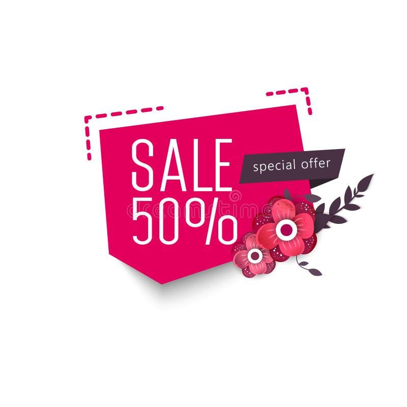 Großes Verkaufs-Wochenende, Sonderangebotfahne bis zu 50 weg Auch im corel abgehobenen Betrag lizenzfreie abbildung