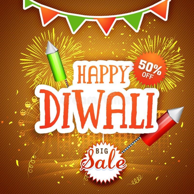 Großes Verkaufsplakat, -fahne oder -flieger für Diwali vektor abbildung