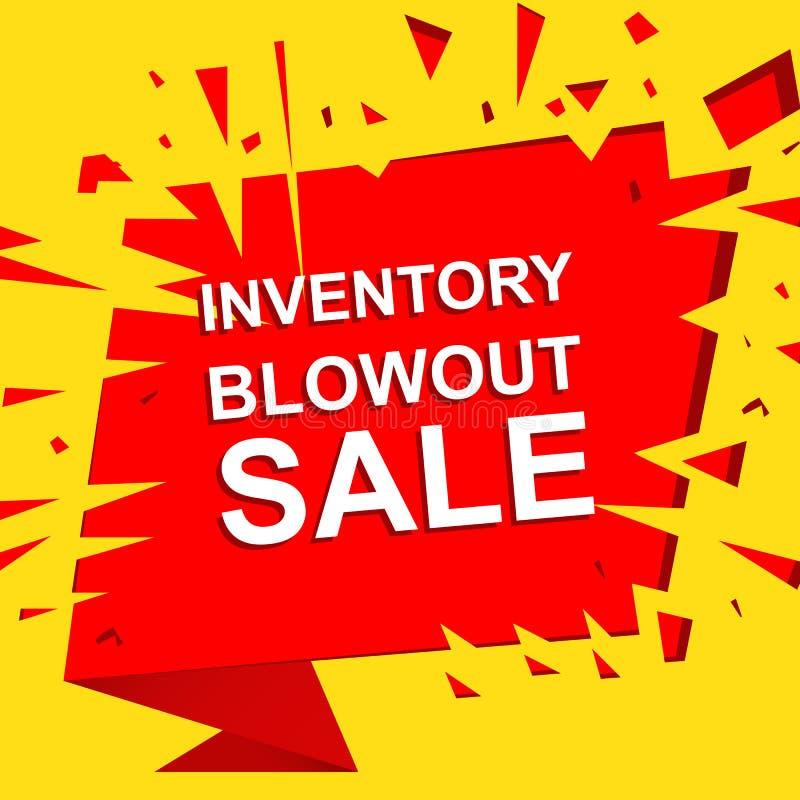 Großes Verkaufsplakat mit INVENTAR-AUSBLASEN-VERKAUFS-Text Werbungsvektorfahne stock abbildung