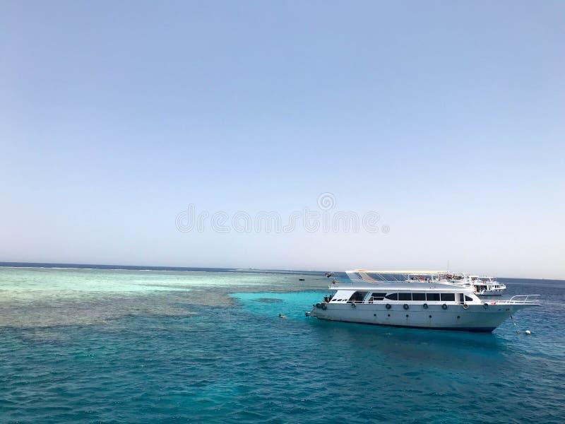 Großes weißes Schiff, Boot, touristische Zwischenlage der Kreuzfahrt auf blauem azurblauem Meer, Ozean mit Riffen gegen den blaue lizenzfreies stockfoto