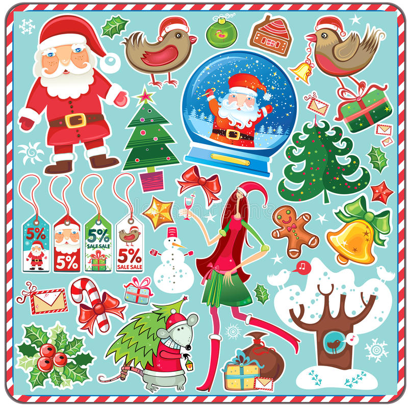 Großes Weihnachtsset vektor abbildung