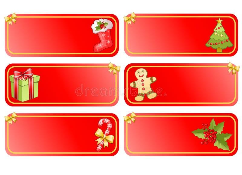 Großes Weihnachtsset Fahnen lizenzfreie abbildung
