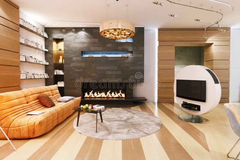 Download Großes Wohnzimmer Mit Vielen Büchern Und Kamin Stockbild   Bild  Von Innen, Dekoration: