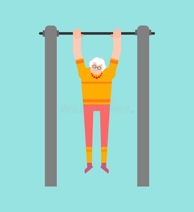 Großmutter auf horizontaler Stange Ziehen Sie Großmutterstraßentraining hoch Alte Frau Sport Eignung für Ältere lizenzfreie abbildung