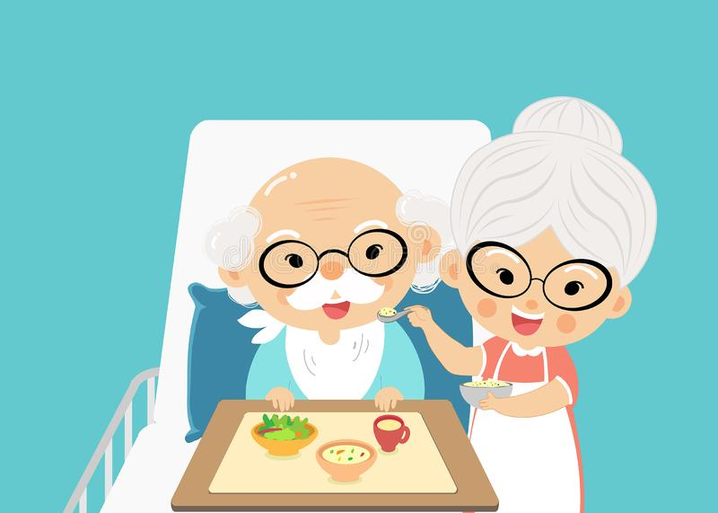 Großmutter kümmert sich um Zufuhr und nimmt einer Droge den Großvater Sie sind reizende Paare stock abbildung