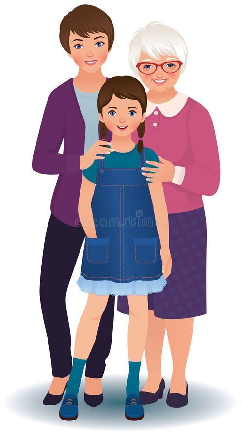 Großmutter mit Tochter und Enkelin lizenzfreie abbildung