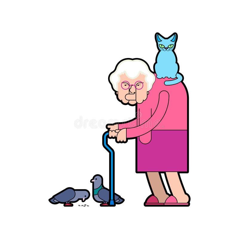 Großmutter zieht Tauben ein Großmutter und Katze Gute alte Dame und tun stock abbildung