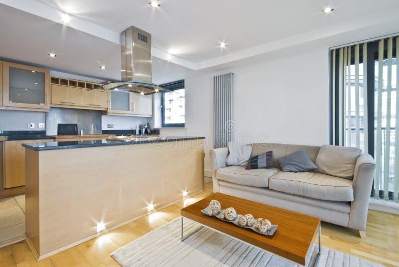 Großraumaufenthaltsraum mit Sofa stockfotos