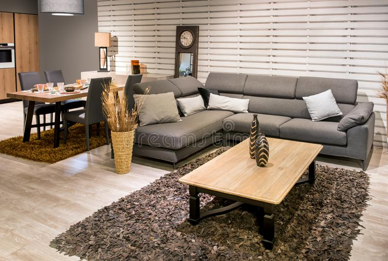 Großraumküche, Esszimmer und Wohnzimmer stockfotografie