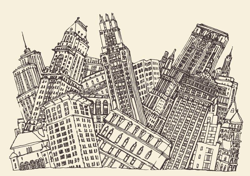 Großstadt-Konzept-Architektur gravierter Vektor lizenzfreie abbildung