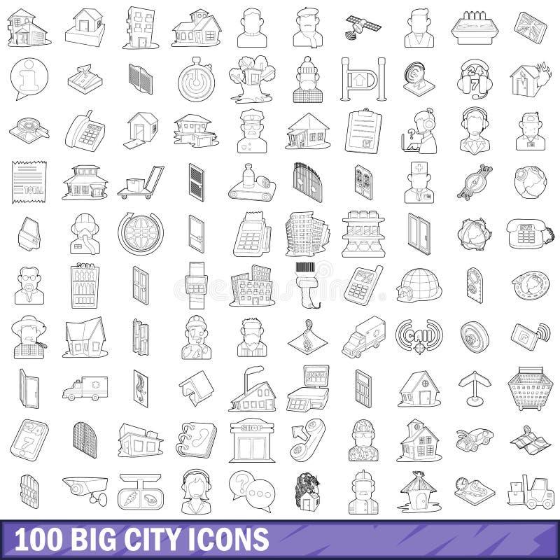 100 Großstadtikonen eingestellt, Entwurfsart lizenzfreie abbildung