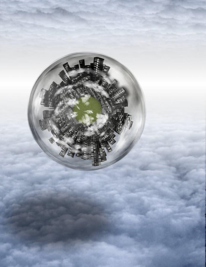 Großstadtkugel in den Schichten der Wolke lizenzfreie abbildung