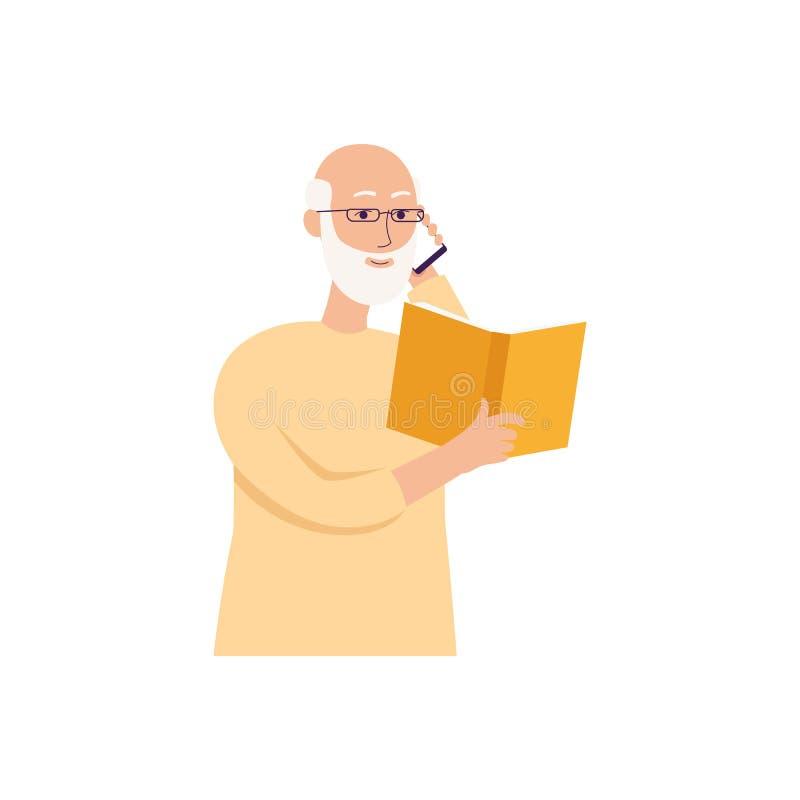 Großvater, der ein Buch liest und einen Telefonanruf macht Alter Mann der glücklichen Karikatur mit dem Smartphone, der einen Pap lizenzfreie abbildung