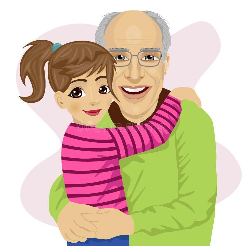 Großvater, der ihre nette Enkelin umarmt vektor abbildung