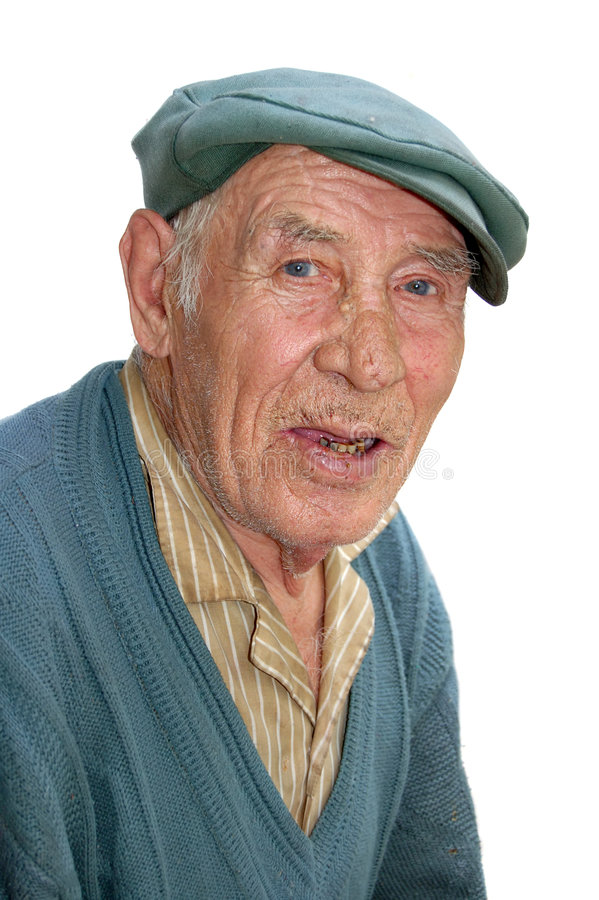 Großvater getrennt auf weißem Hintergrund lizenzfreies stockfoto